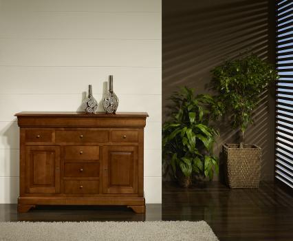 Buffet Flore, 2 portes 9 tiroirs, réalisé en Merisier Massif de style Louis Philippe