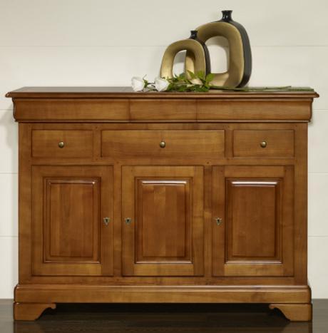 Buffet 3 portes 6 tiroirs laure, réalisé en merisier massif de style louis philippe seulement 1 disponible