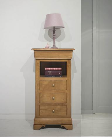 Meuble Téléphone Lucas en Chêne Massif  de style Louis Philippe (ou meuble d'appoint) Finition Chêne doré