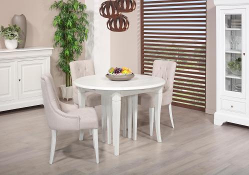 Table ronde   DIAMETRE 120  en Chêne massif de style Louis Philippe 10 allonges de 40 cm (24 personnes)