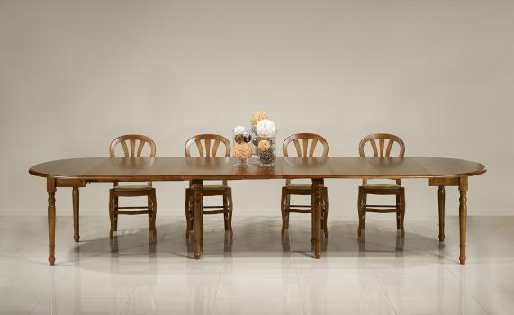 Table ronde à volets DIAMETRE 120 réalisée en merisier massif de style Louis Philippe 7 allonges de 40 cm