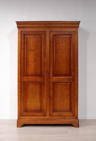Armoire 2 portes Mélodie réalisée en Merisier Massif de style Louis Philippe 132 cm de large