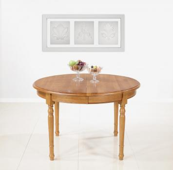 Table ronde  en Chêne Massif de style Louis Philippe DIAM.120 - 3 allonges de 40 cm