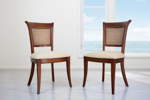Lot de 2 Chaises Ambre réalisée en Merisier de style Louis Philippe Tissu Aldeco