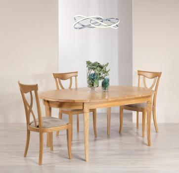 Table ovale 170x110 Mona  en Chêne massif de style Louis Philippe avec 3 allonges de 40 cm
