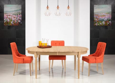 Table ovale 180x120  en Chêne Massif de style Louis XVI 2 allonges de 39 cm Ouverture du plateau synchronisée