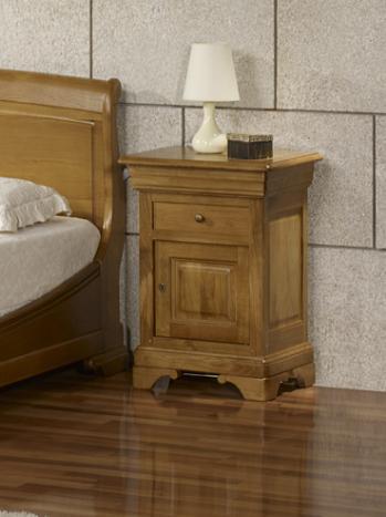 Chevet 1 porte 2 tiroirs guillaume, réalisé en chêne massif de style louis philippe finition chêne ciré