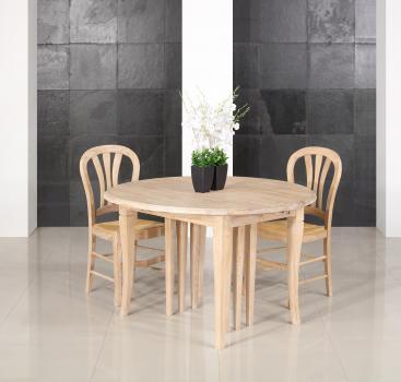 Table ronde à volets  DIAMETRE 120 réalisée en Chêne massif de style Louis Philippe 10 allonges de 40 cm Pieds Sabres Table jusqu'à 5mètres20