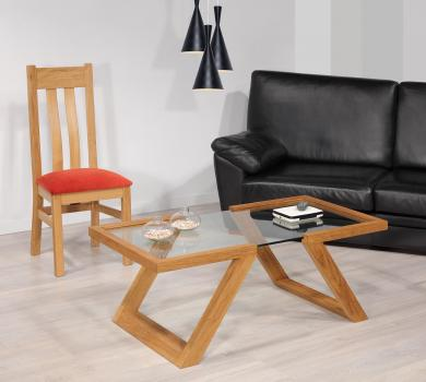Table basse Tanguy  en chêne de style contemporain Finition chêne Naturel Patiné
