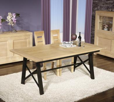 Table rectangulaire Loann réalisée en Chêne et Fer 190x100 avec 2 allonges de 45 cm