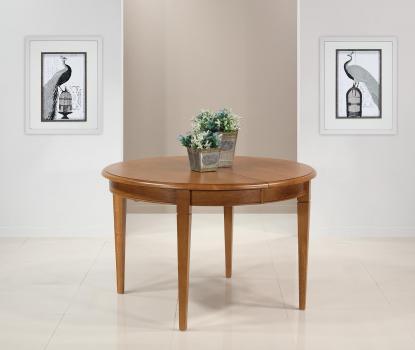 Table ronde Fabien réalisée en Chêne massif de style Louis Philippe DIAMETRE 120 avec 4 allonges de 40 cm Finition Chêne Doré