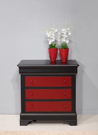 Commode 4 tiroirs Caroline  en Merisier Massif de style Louis Philippe rouge et noir