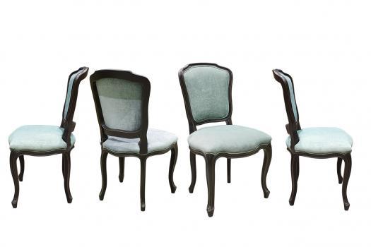 Lot de 4 Chaise Mila   en merisier de style Louis XV Laqué Noir tissu aldeco