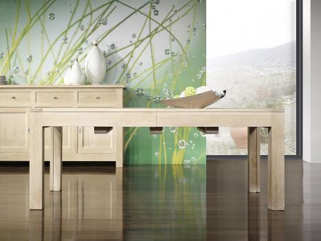 Table de repas rectangulaire 200x100 réalisée en chêne Ligne Contemporaine avec ses 5 allonges Total Longueur 5 mètres