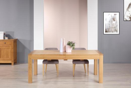 Table de repas rectangulaire Jean  en chêne Ligne Contemporaine 200x100 avec ses 5 allonges Total Longueur 5 mètres