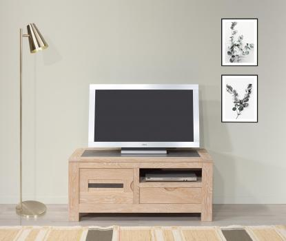 Meuble TV Adriana  en chêne avec 1 porte et 1 tiroir Ligne Contemporaine Finition Chêne Brossé blanchi