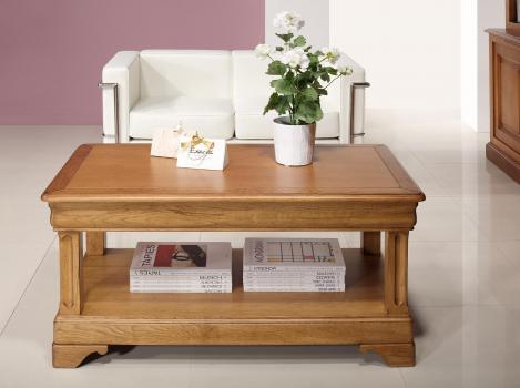 Table basse Eliot réalisée en Chêne de style Louis Philippe 1 tiroir de chaque coté Finition Chêne Doré Patine Antiquaire