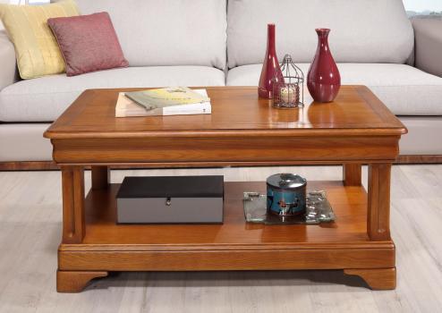 Table basse Eliot réalisée en Chêne de style Louis Philippe 1 tiroir de chaque coté Finition Chêne moyen patine antiquaire
