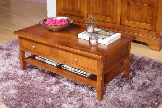 Table Basse Flore réalisée en merisier de style Louis Philippe Plateau Marqueté