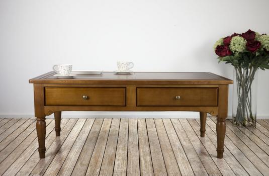 Table Basse Eva réalisée en merisier de style Louis Philippe PLATEAU MARQUETE