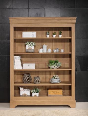 Bibliothèque thiago réalisée en chêne massif de style louis philippe 4 étagères finition chêne brossé