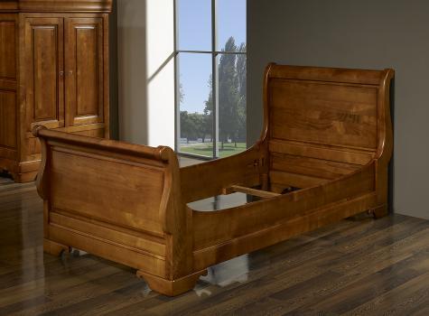 Lit Bateau Camille 90x190 réalisée en Merisier Massif de style Louis Philippe