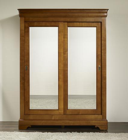 Armoire 2 portes Charlotte réalisée en Merisier Massif de style Louis Philippe PORTES COULISSANTES