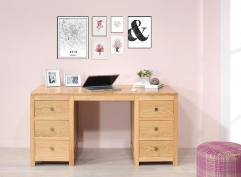 Bureau 6 tiroirs adrien réalisé en chêne de ligne contemporain