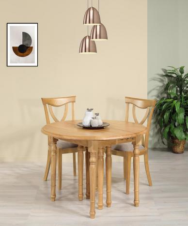 Table ronde à volets Diamètre 105  en chêne massif de style Louis Philippe 6 allonges de 40 cm avec ses allonges : 345X105