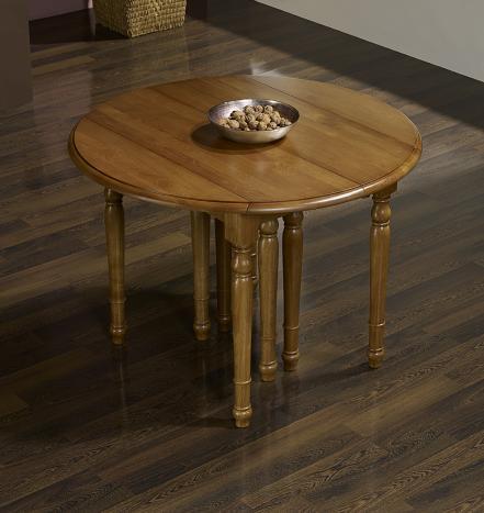 Table ronde à volets DIAMETRE 105 réalisée en chêne massif de style Louis Philippe 6 allonges de 40 cm