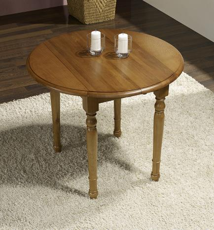 Table ronde à volets diamètre 90 en chêne massif de style Louis Philippe 2 allonges de 4 cm SEULEMENT 1 DISPONIBLE