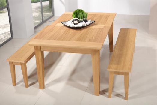 Table Rectangulaire Loïc  en Chêne Massif 160*100 + 2 allonges de 40 cm Finition Chêne Brossé