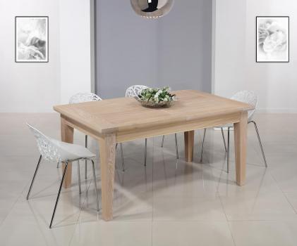 Table Rectangulaire Loïc  en Chêne Massif 160*100 + 2 allonges de 40 cm Finition Chêne Brossé Blanchi