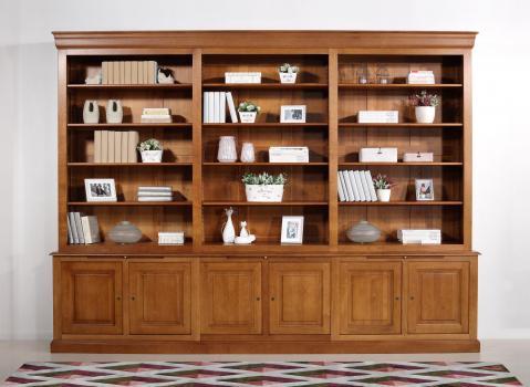 Bibliothèque 2 corps Léo réalisée en Chêne Massif de style Louis Philippe longueur 350 cm