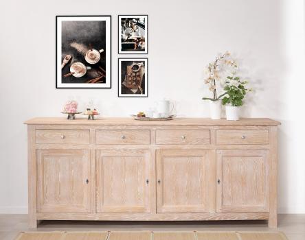 Buffet 4 portes amaury réalisé en chêne massif de style campagnard finition chêne brossé blanchi