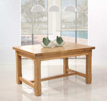 Table de ferme rectangulaire AXEL réalisée en Chêne massif 140x100 + 2 allonges de 45 cm