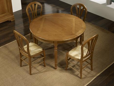 Table ronde Stéphane, 4 pieds tournés en chêne de style Louis Philippe plateau marquetté