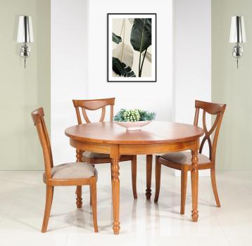 Table ronde   en Merisier Massif de style Louis Philippe 4 pieds tournés Diamètre 120 1 allonge portefeuille de 50 cm