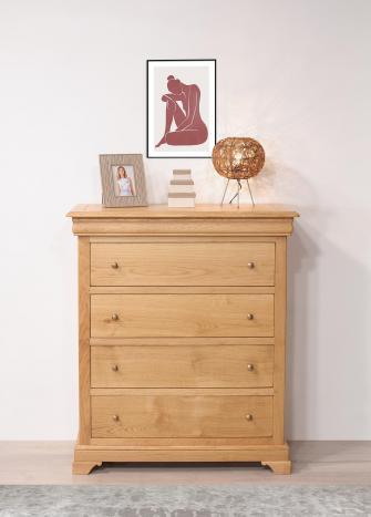 Commode 4 tiroirs Nathan  en Chêne de style Louis Philippe