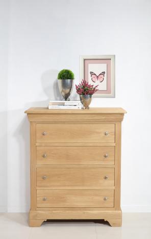 Commode 4 tiroirs Nathan  en Chêne de style Louis Philippe Finition Chêne brossé Naturel