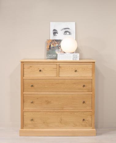 Commode 5 tiroirs damien réalisé en chêne massif de style campagnard