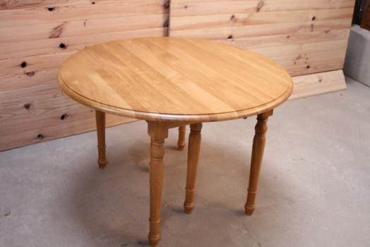 Table ronde à volets Alain réalisée en chêne massif de style Louis Philippe 4 allonges DIAMETRE 100