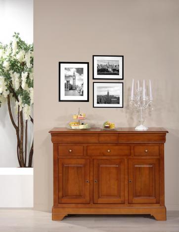 Buffet 3 portes 6 tiroirs Laure, réalisé en merisier massif de style Louis Philippe