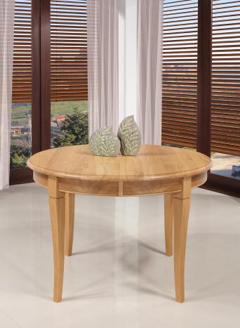 Table ronde   en Chêne massif de style Louis Philippe Diamètre 120 + 2 allonges de 40 cm