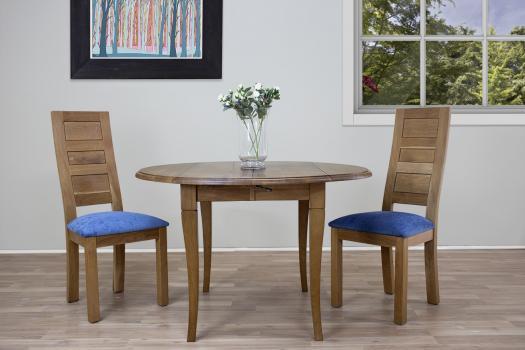Table ronde à volets  en Chêne Massif de style Louis Philippe Diamètre 120 - 2 allonges de 40 cm