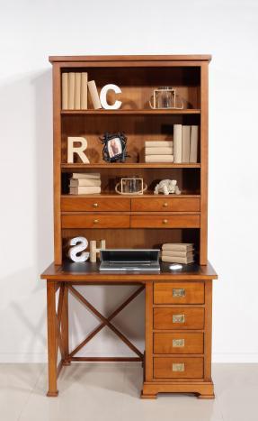 Bureau bibliothèque odile réalisé en merisier inspiration marine surface d'écriture en moleskine noire