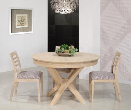 Table ronde Contemporaine Romain diamètre 140 cm  en chêne avec un pieds central et 1 allonge portefeuille de 50 cm