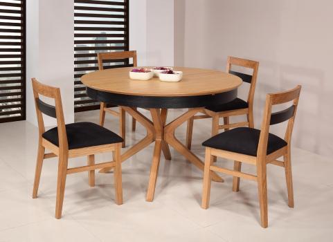 Table ronde Contemporaine Romain, diamètre 120 cm réalisée en chêne avec un pieds central et 1 allonge portefeuille de 50 cm SEULEMENT 1 DISPONIBLE