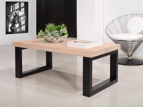Table basse rectangulaire de ligne Contemporaine  en Chêne et Fer