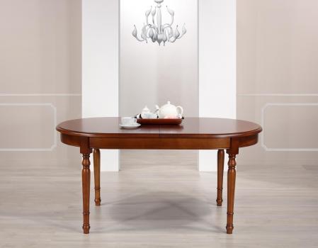 Table ovale Muriel 160*90  en Merisier Massif de style Louis Philippe 2 allonges incorporées de 40 cm Finition Merisier doré patine antiquaire (léger vieillissement du bois)